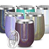 Stainless Steel Wine Tumbler Insulated - THILY T2 Stemless Portable Travel Wine Glass with Spill Proof Lid and Reusable Straw, 12 oz, Keep Cold & Hot for Coffee, Cocktails, Drinks, Glitter Red-Brown