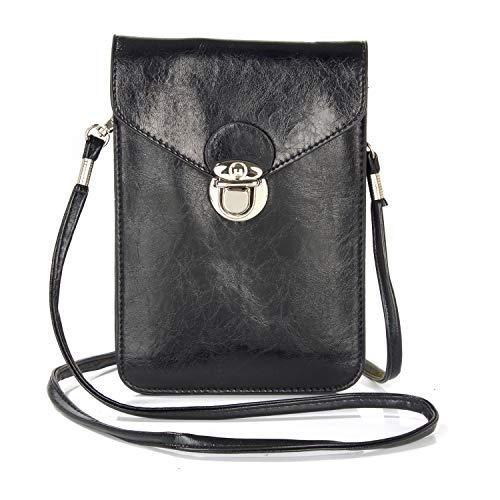 GUOQING Clip de cinturón para teléfono móvil, bolso de mano, bolso cruzado para mujer, funda para teléfono móvil, bolso (color: negro)