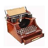 JDH Caja de música de máquina de Escribir Vintage, Caja de música mecánica de Cuerda Caja de joyería con cajón, para la decoración de la Sala de Estudio de la Oficina en casa