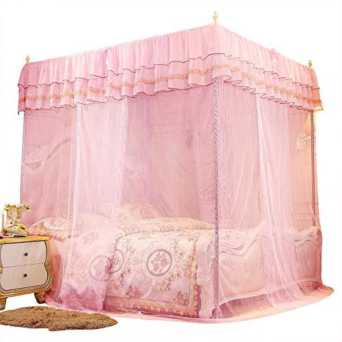 Duokon Bettwäsche Moskitonetz Betthimmel Luxus Prinzessin DREI Seitenöffnungen Post Bett Vorhang Baldachin Netting Moskitonetz Moskito-Schutz(L)