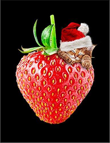【FOX REPUBLIC】【いちご サンタ 子猫 苺 クリスマス サンタクロース ねこ 猫 苺】 黒マット紙(フレーム無し)A4サイズ