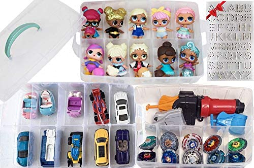 HOME4 No BPA Storage Organizer Carrying Case Box 30 Adjustable Compartments Compatible with Small Dolls LOL Toys Bead Beyblade Hot Wheels Tool Craft Sewing Jewelry Hair Accessories (Pink)