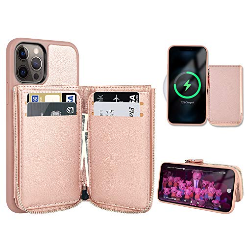 LAMEEKU Magsafe Wallet for iPhone 12 / iPhone 12 Pro 6.1'', Magnetic Wireless Charging, Zipper Case with Card Holder Money Pocket, Leather Protective Phone Case with Kickstand for Women Rose Gold