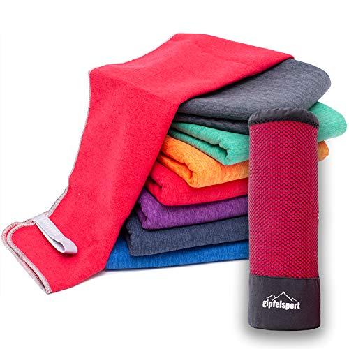Mikrofaser Handtuch Set 'Brush' - Microfaser Handtücher mit Tasche für Sauna, Fitness, Sport I 1x XS(50x30cm) ohne Tasche | Rot