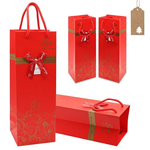 Bolsas de Regalo para Vino, 4 Bolsas de Papel para Vino Tinto con Asa y Etiquetas, Bolsas de Regalo para Botellas de Vino para Bodas, Cumpleaños, Vacaciones, Amigos, Fiesta en Casa