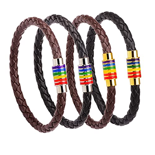 YYMM Juego de 4 pulseras de cuero sintético trenzado, con hebilla magnética, para el orgullo gay y lesbiano, de acero inoxidable