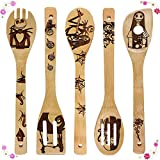 Nightmare Before Christmas Wooden Spoons for Cooking & Serving Set - Natural Burned Bamboo Spoon Slotted Kitchen Utensils Fun Cooking Gifts Idea House Warming Present (Set of 5)