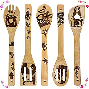 Nightmare Before Christmas Wooden Spoons for Cooking & Serving Set - Natural Burned Bamboo Spoon Slotted Kitchen Utensils Fun Cooking Gifts Idea House Warming Present  Set of 5