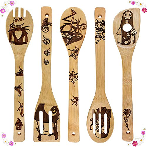Nightmare Before Christmas Wooden Spoons Cooking & Serving Utensils Set - Natural Burned Bamboo Spoon Slotted Kitchen Utensil Fun Gift Idea Warming Present (Set of 5)