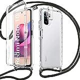 Pnakqil Funda con Cuerda para Xiaomi Redmi Note 10 4G/ 10S + 1 x Película de Lentes Estuche para teléfono de Silicona TPU Suave de 360 Grados con cordón Ajustable para Correa para el Cuello - Negro