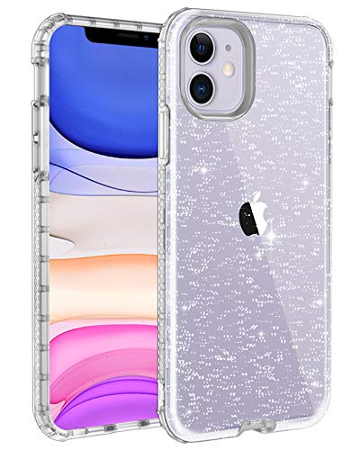 LONTECT for iPhone 11 Case Glitter Crystal Clear Sparkle Bling Heavy Duty Hybrid Sturdy High Impact Shockproof Protective Cover Case for Apple iPhone 11 6.1 2019, Clear/Silver Glitter