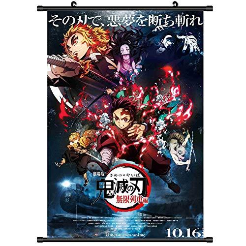 Saicowordist Demon Slayer: Kimetsu No Yaiba the Movie: Mugen Train Scroll Poster, caricaturas colgantes de dibujos animados, pintura para decoración del hogar, regalo para fans del anime (30 x 45 cm)