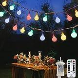 Globe Lichterkette 120 LED 12M Lichterkette Stecker Gartenleuchten mit 8 Modi Fernbedienung Timer...