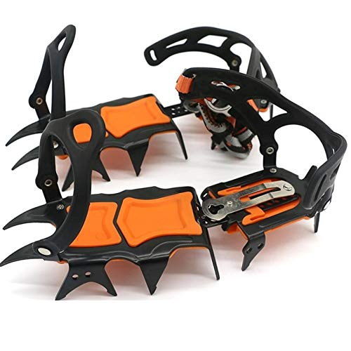 14 dientes botas zapatos antideslizante para hielo Crampones de hielo invierno senderismo nieve nieve tracción tacos equipo escalada o senderismo en nieve y hielo