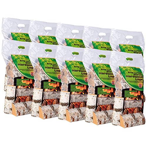 AMOS Premium Kiln Dried Real Birch Wood Logs Approx. 10 x 8kg Hard Wood Open Fire Stove Burner Fuel Stoves Wood Burner Pizza Ovens