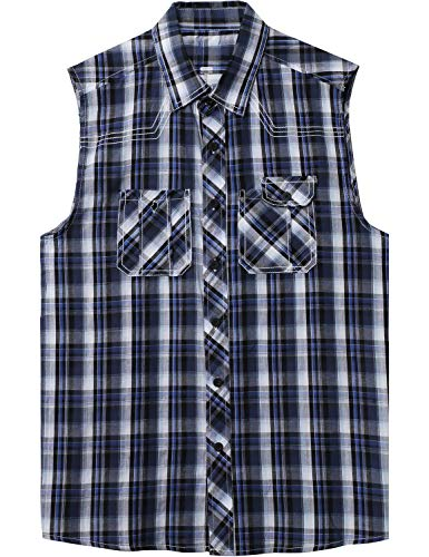 Ma Croix Mens Sleeveless Plaid Flannel Shirt (1ak01_Denim, XX-Large)