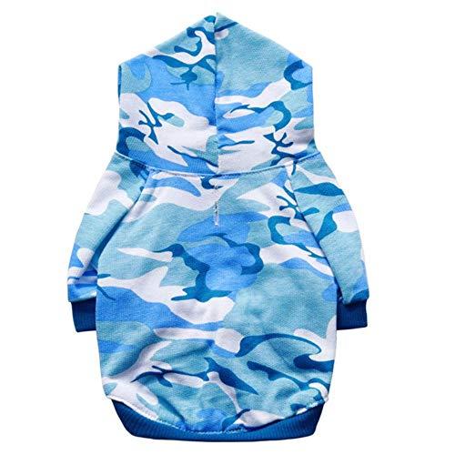 rtgfb Weiches Warm Kapuzenpullis Haustier-Kleidung-Baumwolltarnungs-Mit Kapuze Strickjacke-Raglan-T-Shirt Für Kleine Hundewelpen-Mantel-Jacken-Kleidung, Blau, Xs