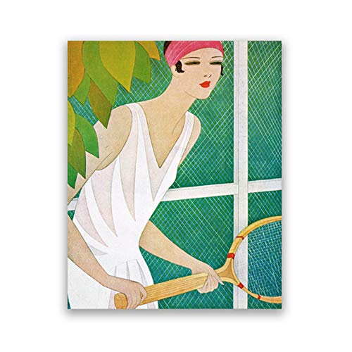 yhyxll Giocatore di Tennis Flapper Girl Stampe Art Decor Vintage Fashion Wall Art Tela Pittura Sport Poster Soggiorno Decor-24x32 in No Frame
