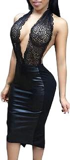 maweisong 女性セクシードレスボディーコンVネックホルターストラップカクテルミニドレス