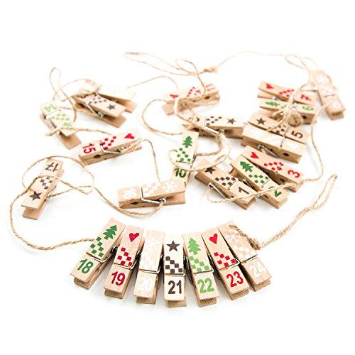 Houten klemmen adventskalendercijfers cijferklemmen met snoer Kleur: natuurlijk rood groen om zelf te knutselen 1-24 op een snoer 2,5 m om op te hangen; voor het bevestigen van papieren zakken.