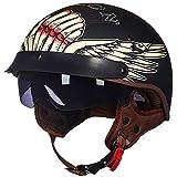 XiYou Elektroroller Harley Motorrad Halbhelm, Brain Cap Halbschalen Motorradhelm Eingebautes Objektiv Mit Cruiser Chopper Rider DOT Zertifizierung Light Jet Helm