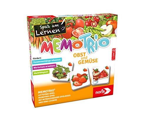 noris 606071862 MemoTrio Obst und Gemüse – 3 Spiele rund um das Thema Ernährung, für Kinder ab 4 Jahren, Mehrfarbig