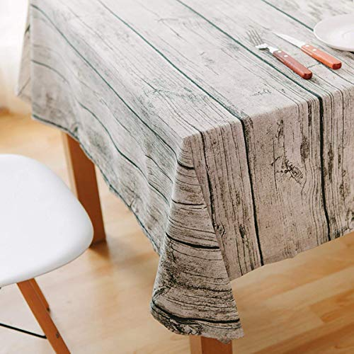 WGZOJOPD Dining Tablecloth Retro Soft Cotton and Linen Tablecloth Wood Grain Simulation Bark Dustcloth Photography Background Cloth (90 x 90cm(35 x 35inch))