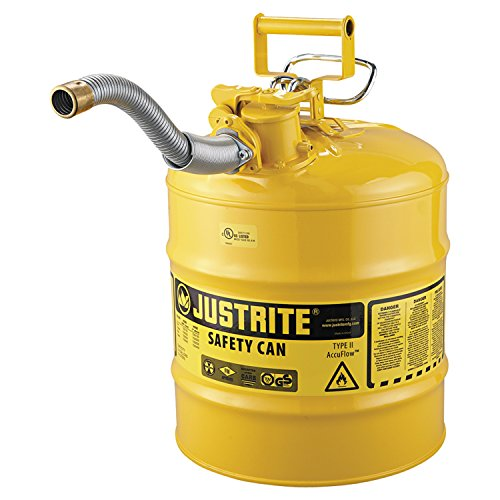 """Justrite 7250230 AccuFlow 5 Gallon, 11.75"""" OD x 17.50"""" H Galvanized Steel Type II Yellow Safety Can With 1"""" Flexible Spout"""