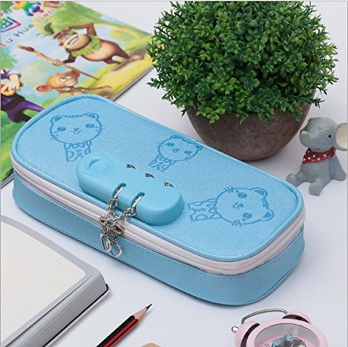 EOLIURR 1 Pcs Newest Blue Cute Large Cat Leather PU Code Lock Combination Cartoon Zipper Pen Bag Pencil Case Cosmetic Makeup Bag Pouch Stationery Office School Supplies Holder Set with Heart Keychain