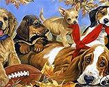 YCMXMY Puzzle 1500 Pièces Adultes, Chiens Et Rugby, pour Le Jouet À La Maison Jeu, 87X57Cm