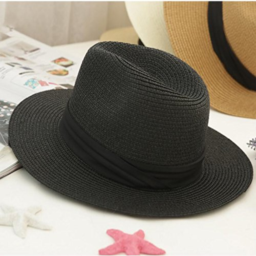 MMWYC Cappello da Sole da Uomo Estate all'aperto Protezione Solare Cappello da Cowboy Pieghevole Large Eaves Hiking Fishing Straw Hat Beach Hat (Color : Black)