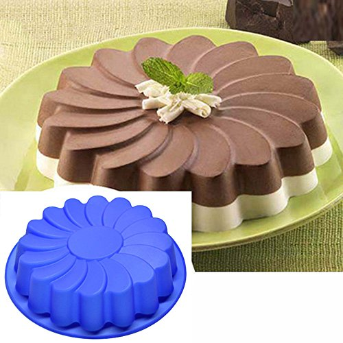 Jareally Silicone Large Flower Cake Mould Chocolate Soap Candy Jelly Mold Baking Pan (A-Cake Mould)