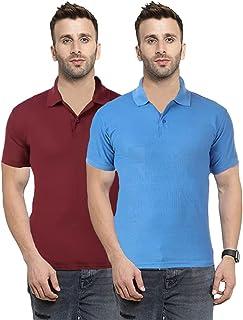 Camfoot Men's (Polo_11_8) Multicolor Pack of 2 Poly Cotton Collar & Plain Comfort Regular Slim Fit T-Shirt
