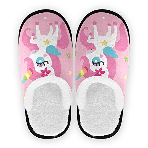 Mnsruu Zapatillas de casa con estampado floral de unicornio para niña, antideslizantes, de algodón, para el hogar, hotel, spa, dormitorio, viajes, M, para hombres y mujeres