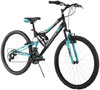 Huffy 26 Inch Women's Trail Runner Mountain Bike Dual Suspension Frame and Suspension Fork, Black
