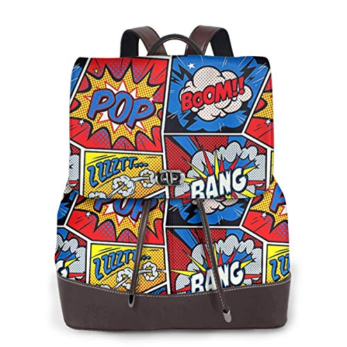 Rucksack Damen Funky Comic Style, Leder Rucksack Damen 13 Inch Laptop Rucksack Frauen Leder Schultasche Casual Daypack Schulrucksäcke Tasche Schulranzen