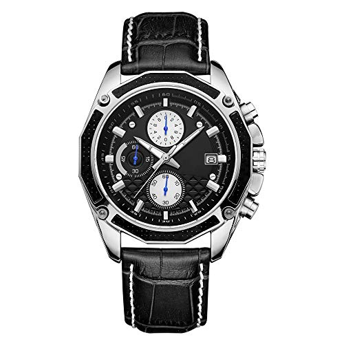 NAINAIWANG Relojes Hombre Cronógrafo Analógico Fecha Cuarzo Impermeable Correa Cuero Deportivo Diseño Casual de Negocios Relojes de Pulsera Regalo Elegante para Hombre Sports Casual