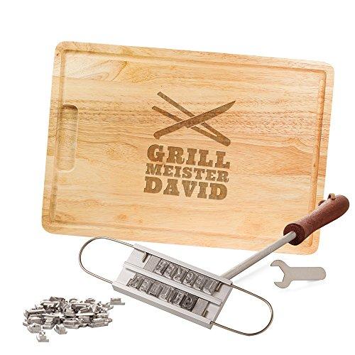 Casa Vivente Grillset, BBQ Brandeisen und Schneidebrett, Grillmeister, Personalisiert mit Namen, Grillzubehör, Vatertagsgeschenke