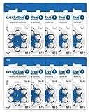 everActive 675, 60 Stück, Hörgerätebatterien, hohe Leistung, Zink-Luft-Batterien, 10 Blisterkarten, 4-jährige Haltbarkeit, blau, Ultrasonic PR44