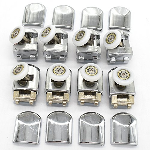 Juego de poleas y ruedas para mampara corredera de ducha individual, 8 unidades, rueda de 23 mm de diámetro, piezas de repuesto de baño