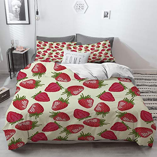 3 Piece Duvet Cover Set No Wrinkle Ultra Soft Bedding Set,Fruits,Strawberries Vivid Growth Plant Vitamin Organic Diet Refreshing Image Decorative,2 pillowcase 50 x 75cm 1 Pc Bed sheet 230 x 220cm