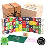 Jaques von London Holzklötze Eine großartige Lernressource - Stundenlanger Spaß mit diesem Holzspielzeug mit Zahlen und Buchstaben. Kleinkindspielzeug - Passendes Montessori-Spielzeug