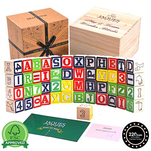 Jaques of London Alphabet Wooden Building Blocks | Premium Alphabet Blocks Toys for 1 2 3 year old Boy and Girls | Wooden Toys Building Blocks for Kids | Educational Baby Toys | Since 1795
