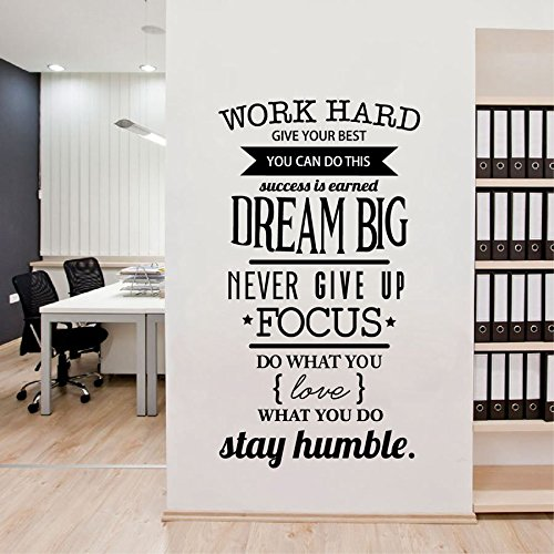 YIYEBAOFU Muurhaak Stickers Stairwayoffice Motivationele Citaten Muursticker Geef nooit Werk Harde Vinyl Muurstickers Art Home Decoratie M