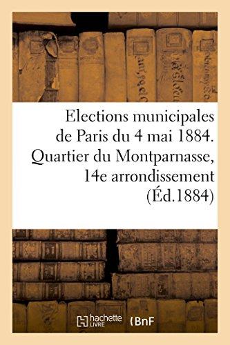 Ponthier-E: Elections Municipales de Paris Du 4 Mai 1884. Qu (Sciences Sociales)