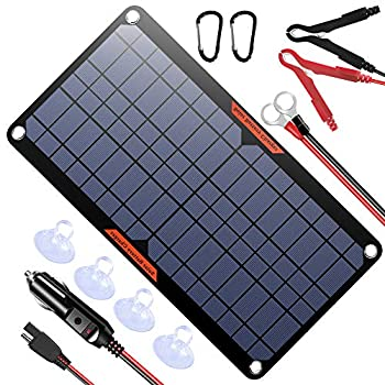 POWISER 10W 12V Solar Panel Car Battery Charger Portable Waterproof Power Trickle Battery Charger & Maintainer for Car Boat Automotive RV with Cigarette Lighter Plug & Alligator Clip