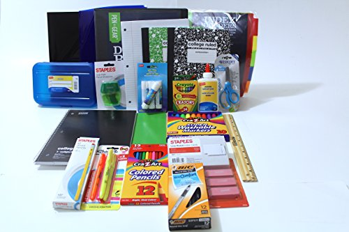 Secondary School Supply Pack - Essential Items for College, High School or Middle School. Includes Pencils, Paper, Binders, Notebooks, Folders and More!