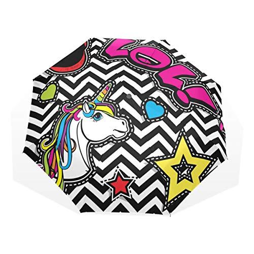 ISAOA Paraguas de Viaje automático, Paraguas Plegable de Unicornio frío, Resistente al Viento, Ultra Ligero, protección UV, asa compacta para fácil Transporte para Mujeres y Hombres