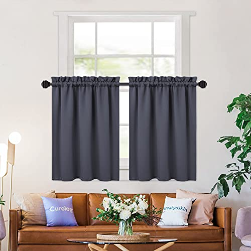 NANAN Small Window Room Darkening Tier Curtains, 24 Inch Length Thermal Insulated Blackout Window Treatment Bathroom Cafe Curtains,Gray 26 x 24 Inches Set of 2