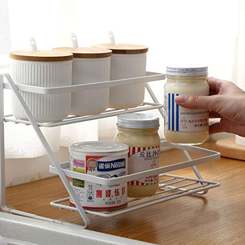 QuTess 2-Tier Spice Rack Kitchen Spice Shelf Holder Rack Spice Jars Bottles Rack Kitchen Home Storage Shelf Organizer for Kitchen Sauces Bathroom Organize
